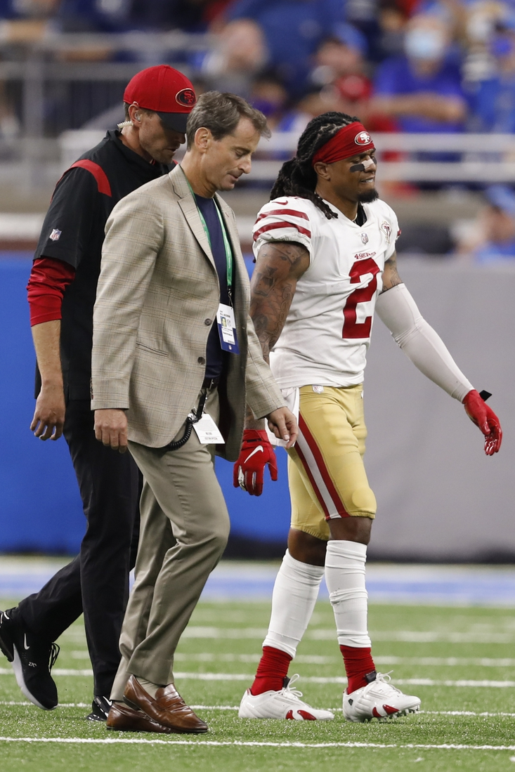 Sep 12, 2021; Detroit, Michigan, USA; San Francisco 49ers defensive back Jason Verrett (2) walks off the field with an injury during the fourth quarter against the Detroit Lions at Ford Field. Mandatory Credit: Raj Mehta-USA TODAY Sports