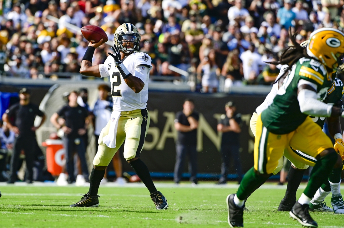 Sep 12, 2021; Jacksonville, Florida, USA;  New Orleans Saints quarterback Jameis Winston (2) throws from the pocket during the first quarter against the Green Bay Packers at TIAA Bank Field. Mandatory Credit: Tommy Gilligan-USA TODAY Sports