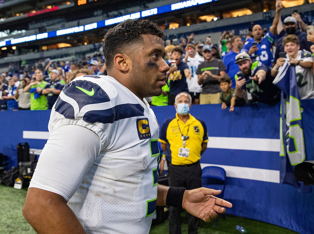 Seattle Seahawks quarterback Russell Wilson (3) leaves the field after facing the Indianapolis Colts on Sunday, Sept. 12, 2021, at Lucas Oil Stadium and Indianapolis. The Seahawks defeated the Colts, 28-16.  Indianapolis Colts And Seattle Seahawks On Nfl Week 1 At Lucas Oil Stadium Sunday Sept 12 2021