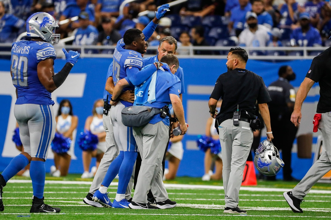 Lions cornerback Jeff Okudah walks off the field due to an injury during the second half of the 41-33 loss to the 49ers Sunday, Sept. 12, 2021.