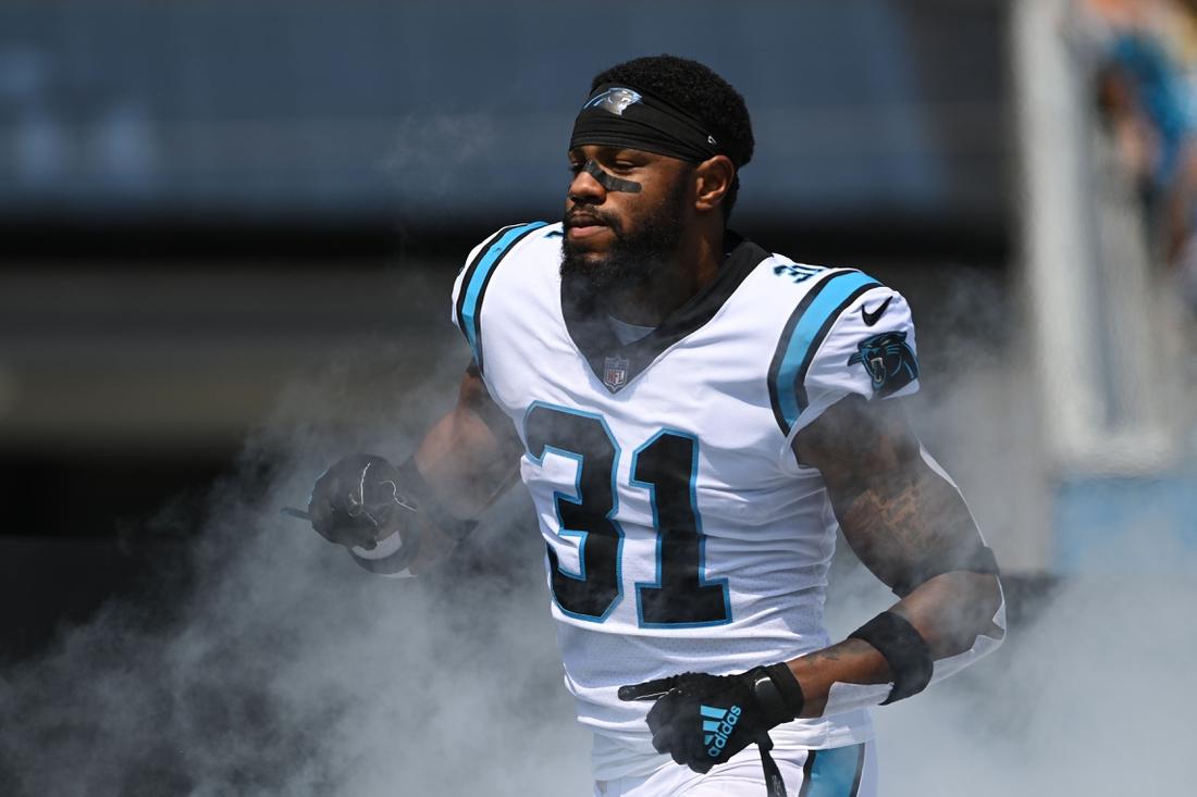 Sep 12, 2021; Charlotte, North Carolina, USA;  Carolina Panthers cornerback Juston Burris (31) runs on to the field at Bank of America Stadium. Mandatory Credit: Bob Donnan-USA TODAY Sports