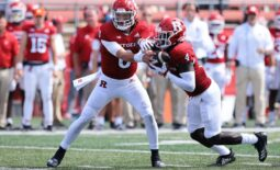 Sep 4, 2021; Piscataway, New Jersey, USA; Rutgers Scarlet Knights quarterback Noah Vedral (0) hands off to running back Aaron Young (4) during the second half against the Temple Owls at SHI Stadium. Mandatory Credit: Vincent Carchietta-USA TODAY Sports