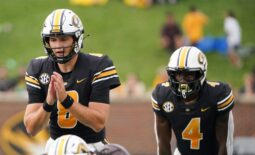 Sep 4, 2021; Columbia, Missouri, USA; Missouri Tigers quarterback Connor Bazelak (8) readies for the snap against the Central Michigan Chippewas during the game at Faurot Field at Memorial Stadium. Mandatory Credit: Denny Medley-USA TODAY Sports