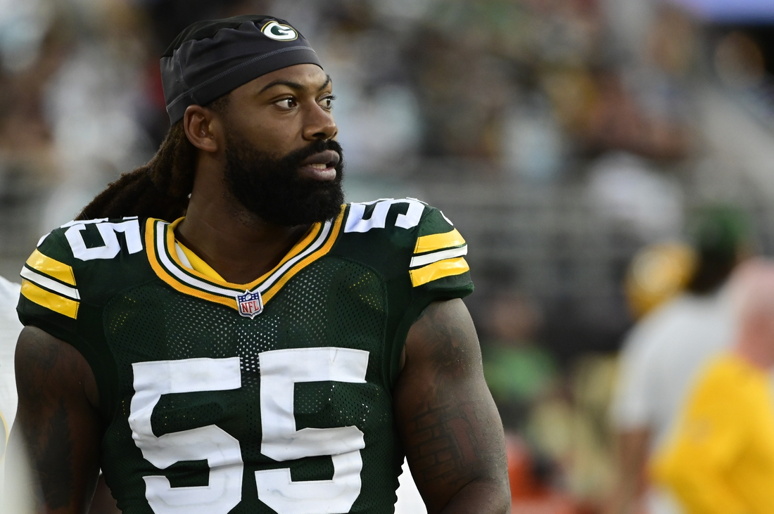 Sep 12, 2021; Jacksonville, Florida, USA;  Green Bay Packers linebacker Za'Darius Smith (55) stands on the sidelines during the game against the New Orleans Saints at TIAA Bank Field. Mandatory Credit: Tommy Gilligan-USA TODAY Sports