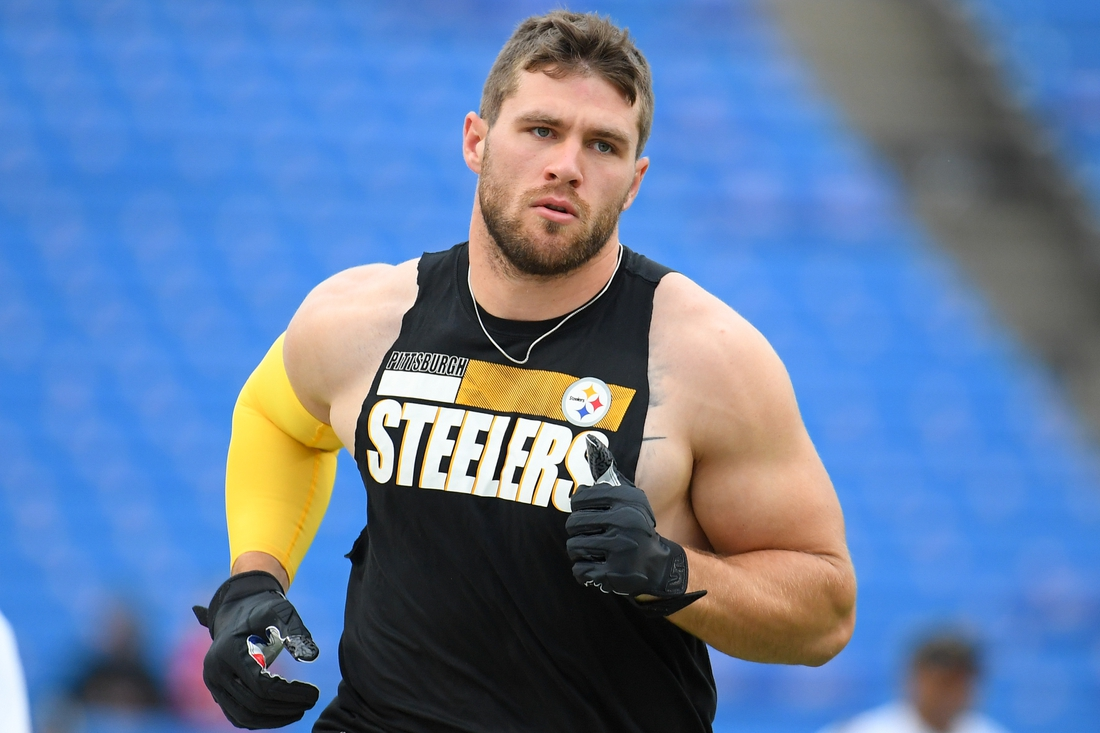 Sep 12, 2021; Orchard Park, New York, USA; Pittsburgh Steelers outside linebacker T.J. Watt (90) warms up prior to the game against the Buffalo Bills at Highmark Stadium. Mandatory Credit: Rich Barnes-USA TODAY Sports