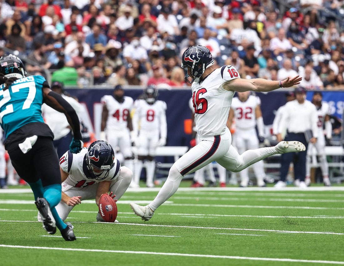 Sep 12, 2021; Houston, Texas, USA; Houston Texans kicker Joey Slye (16) attempts a field goal during the game against the Jacksonville Jaguars at NRG Stadium. Mandatory Credit: Troy Taormina-USA TODAY Sports