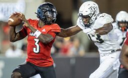 UofL quarterback Malik Cunningham is sacked during the first half Friday evening as the Louisville Cardinals took on the University of Central Florida at Cardinal Stadium. The Cardinals led 21-14 at halftime. Sept. 17, 2021  As 4148 Uofl Ucf 1sthalf351
