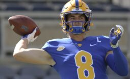 Sep 18, 2021; Pittsburgh, Pennsylvania, USA;  Pittsburgh Panthers quarterback Kenny Pickett (8) warms up before the game against the Western Michigan Broncos at Heinz Field. Mandatory Credit: Charles LeClaire-USA TODAY Sports