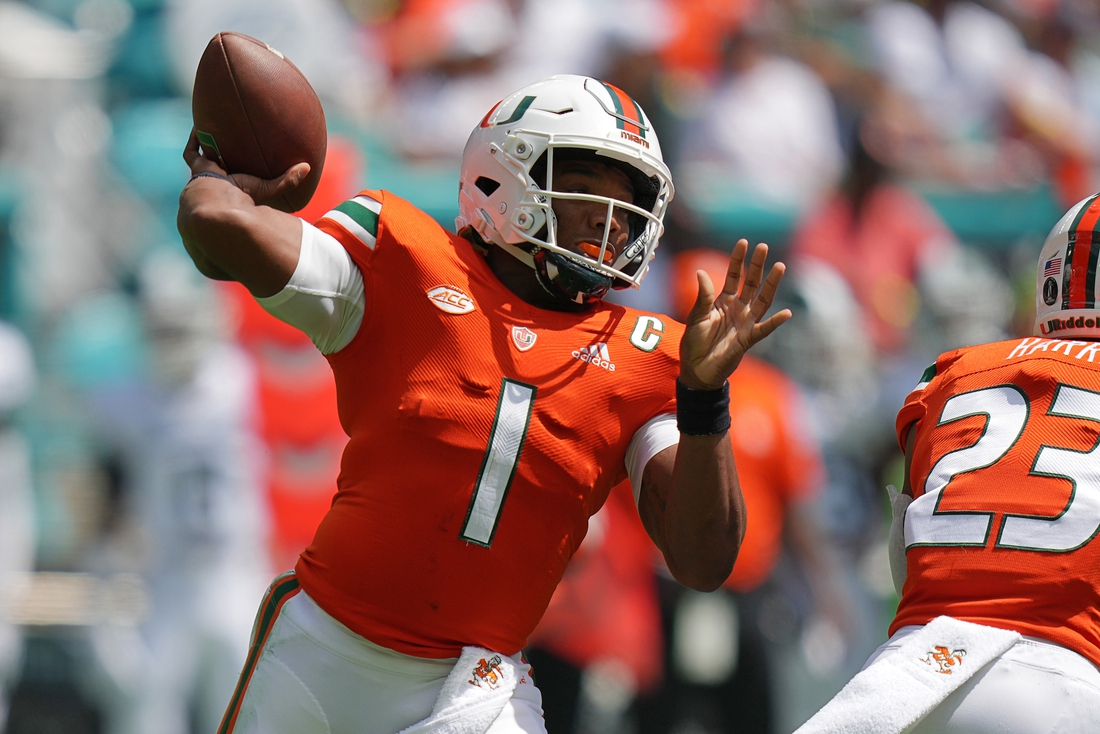 Sep 18, 2021; Miami Gardens, Florida, USA; Miami Hurricanes quarterback D'Eriq King (1) attempts a pass against the Michigan State Spartans during the first half at Hard Rock Stadium. Mandatory Credit: Jasen Vinlove-USA TODAY Sports