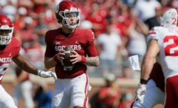 Oklahoma's Spencer Rattler (7) drops back to pass during a college football game between the University of Oklahoma Sooners (OU) and the Nebraska Cornhuskers at Gaylord Family-Oklahoma Memorial Stadium in Norman, Okla., Saturday, Sept. 18, 2021. Oklahoma won 23-16.  Lx15470