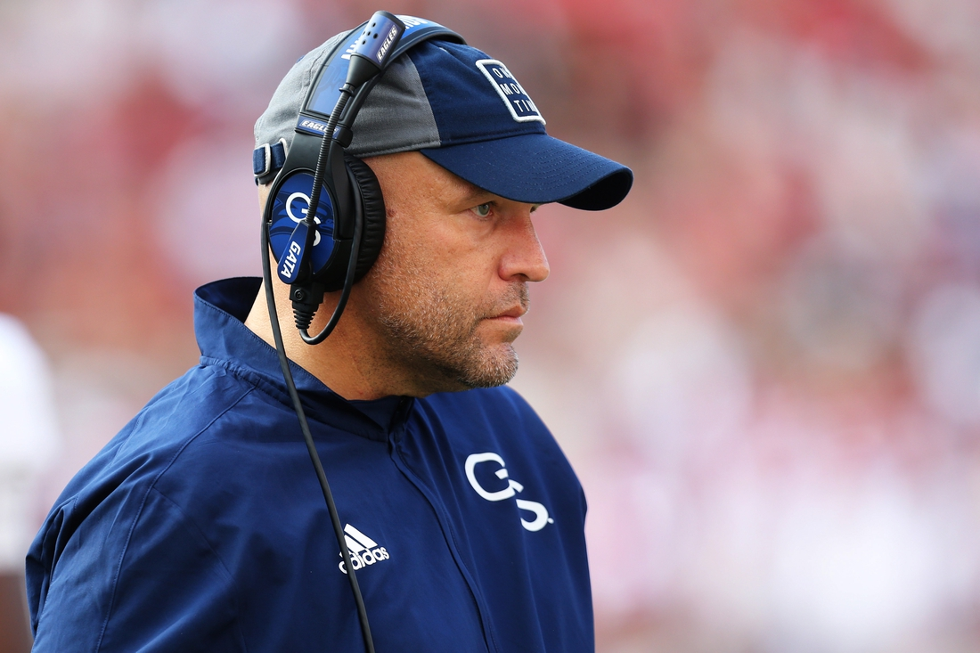 Sep 18, 2021; Fayetteville, Arkansas, USA; Georgia Southern Eagles head coach Chad Lunsford during the second quarter against the Arkansas Razorbacks at Donald W. Reynolds Razorback Stadium. Mandatory Credit: Nelson Chenault-USA TODAY Sports