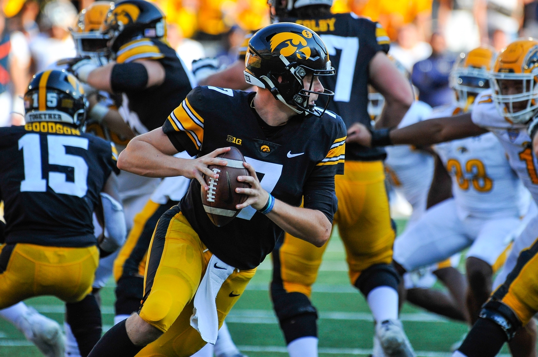 Sep 18, 2021; Iowa City, Iowa, USA; Iowa Hawkeyes quarterback Spencer Petras (7) in action during the third quarter against the Kent State Golden Flashes at Kinnick Stadium. Mandatory Credit: Jeffrey Becker-USA TODAY Sports