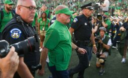 Sep 18, 2021; South Bend, Indiana, USA; Notre Dame Fighting Irish head coach Brian Kelly leaves the field after defeating the Purdue Boilermakers at Notre Dame Stadium. The win was his 105th as Notre Dame coach and tied Kelly for most wins at Notre Dame with Knute Rockne. Mandatory Credit: Matt Cashore-USA TODAY Sports