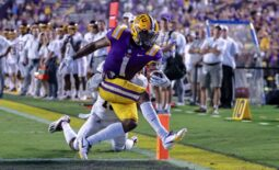 Sep 18, 2021; Baton Rouge, Louisiana, USA;  LSU Tigers wide receiver Kayshon Boutte (1) makes a 2 yard touchdown reception against Central Michigan Chippewas defensive back Donte Kent (19) during the first half at Tiger Stadium. Mandatory Credit: Stephen Lew-USA TODAY Sports
