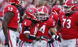 Sep 18, 2021; Athens, Georgia, USA; Georgia Bulldogs running back James Cook (4) celebrates with his teammates after scoring a touchdown against the South Carolina Gamecocks during the first half at Sanford Stadium. Mandatory Credit: Joshua L. Jones/Athens Banner-Herald via USA TODAY NETWORK