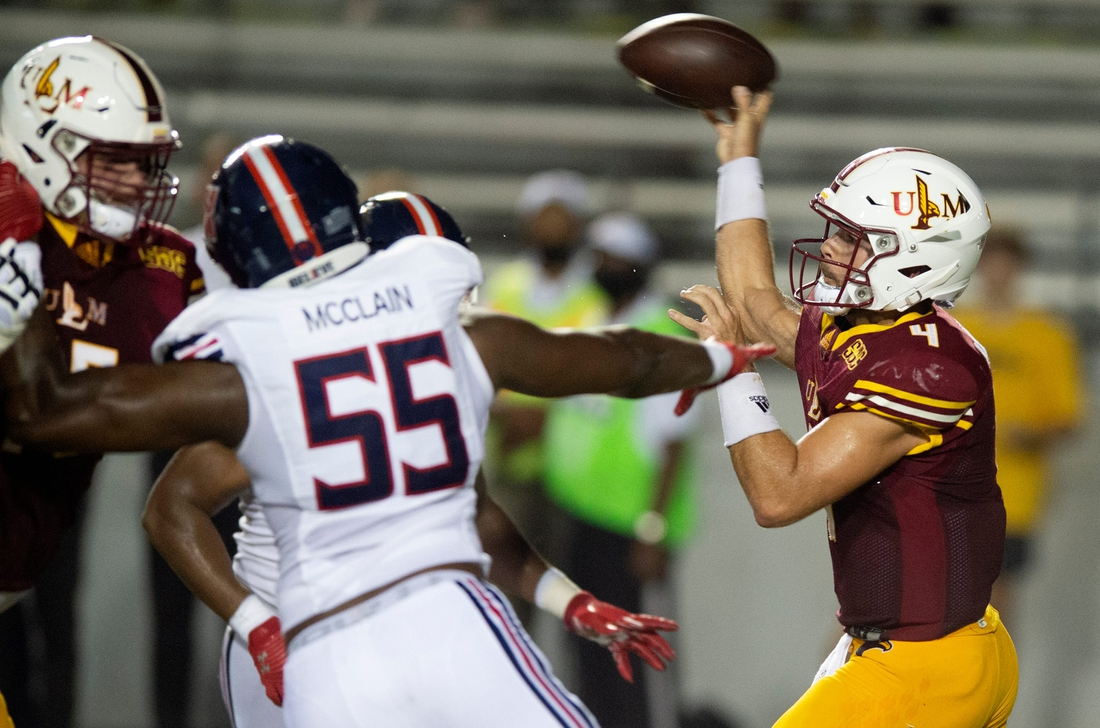 University of Louisiana-Monroe's Rhett Rodriguez throws a pass during their game against Jackson State University at Malone Stadium in Monroe, La., Saturday, Sept. 18, 2021.  Tcl Jsuvulm10