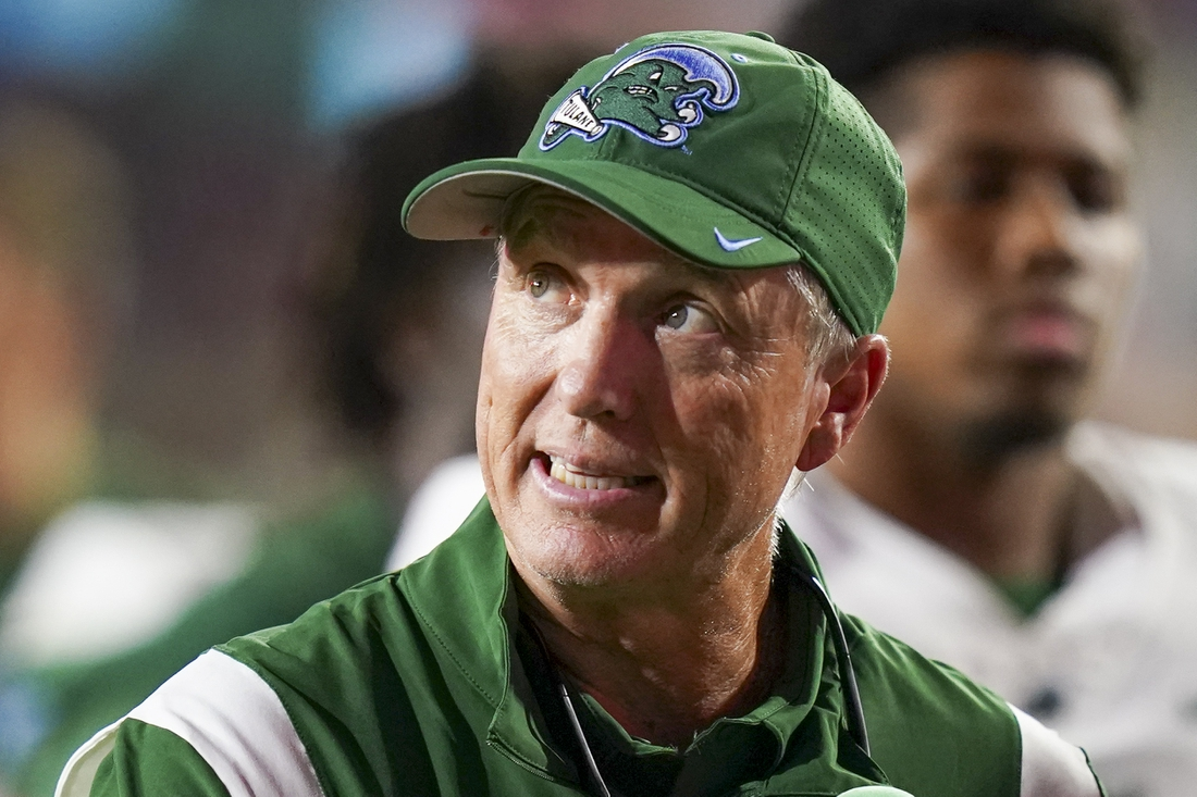 Sep 18, 2021; Oxford, Mississippi, USA; Tulane Green Wave head coach Willie Fritz during their game against the Mississippi Rebels at Vaught-Hemingway Stadium. Mandatory Credit: Marvin Gentry-USA TODAY Sports