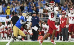 Sep 18, 2021; Pasadena, California, USA;  Fresno State Bulldogs wide receiver Ty Jones (8) makes a catch against UCLA Bruins defensive back Jay Shaw (1) in the second quarter at Rose Bowl. Mandatory Credit: Richard Mackson-USA TODAY Sports