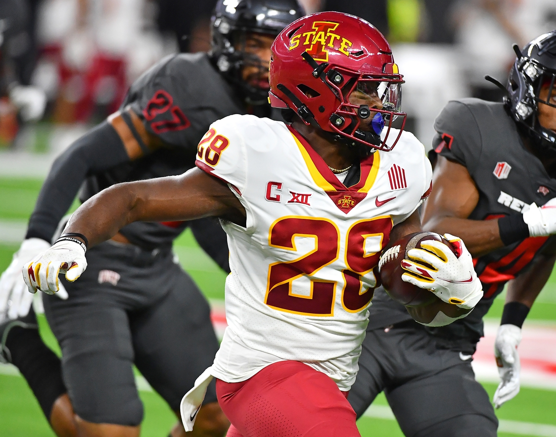 Sep 18, 2021; Paradise, Nevada, USA; Iowa State Cyclones running back Breece Hall (28) carries the ball against the UNLV Rebels during the first quarter at Allegiant Stadium. Mandatory Credit: Stephen R. Sylvanie-USA TODAY Sports