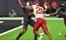 Sep 18, 2021; Paradise, Nevada, USA;  UNLV Rebels quarterback Cameron Friel (7) is pressured by Iowa State Cyclones defensive back Anthony Johnson Jr. (26) during the second quarter at Allegiant Stadium. Mandatory Credit: Stephen R. Sylvanie-USA TODAY Sports