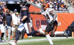 Sep 19, 2021; Chicago, Illinois, USA; Chicago Bears quarterback Andy Dalton (14) rushes the ball against the Cincinnati Bengals during the second quarter at Soldier Field. Mandatory Credit: Mike Dinovo-USA TODAY Sports