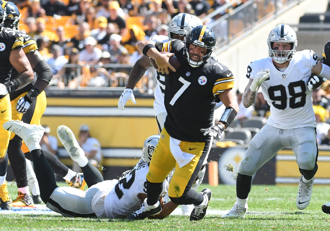 Sep 19, 2021; Pittsburgh, Pennsylvania, USA;  Pittsburgh Steelers quarterback Ben Roethlisberger is sacked during the second quarter by Las Vegas Raiders  defensive tackle Solomon Thomas at Heinz Field. Mandatory Credit: Philip G. Pavely-USA TODAY Sports