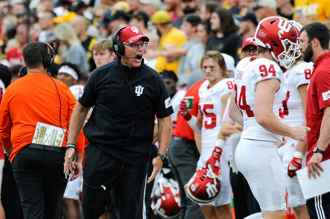 Sep 4, 2021; Iowa City, Iowa, USA; Indiana Hoosiers head coach Tom Allen reacts with punter James Evans (94) during the game against the Iowa Hawkeyes at Kinnick Stadium. Mandatory Credit: Jeffrey Becker-USA TODAY Sports