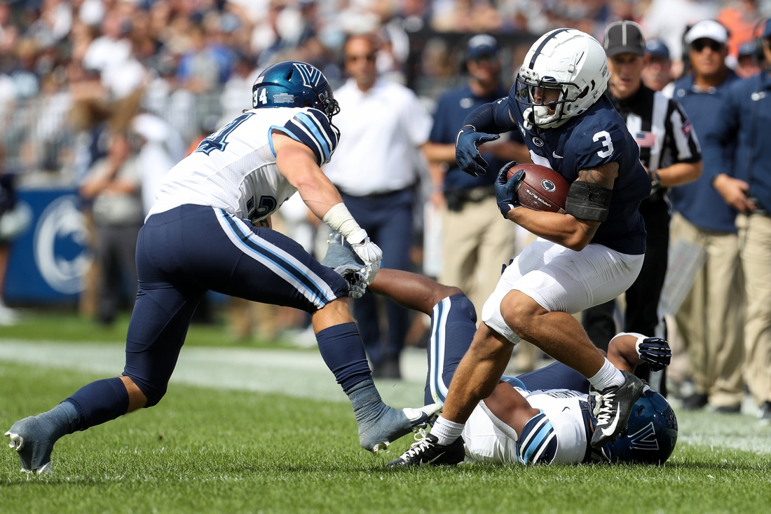 Sep 25, 2021; University Park, Pennsylvania, USA; Penn State Nittany Lions  wide receiver Parker Washington (3) runs with the ball during the second quarter against the Villanova Wildcats at Beaver Stadium. Mandatory Credit: Matthew OHaren-USA TODAY Sports