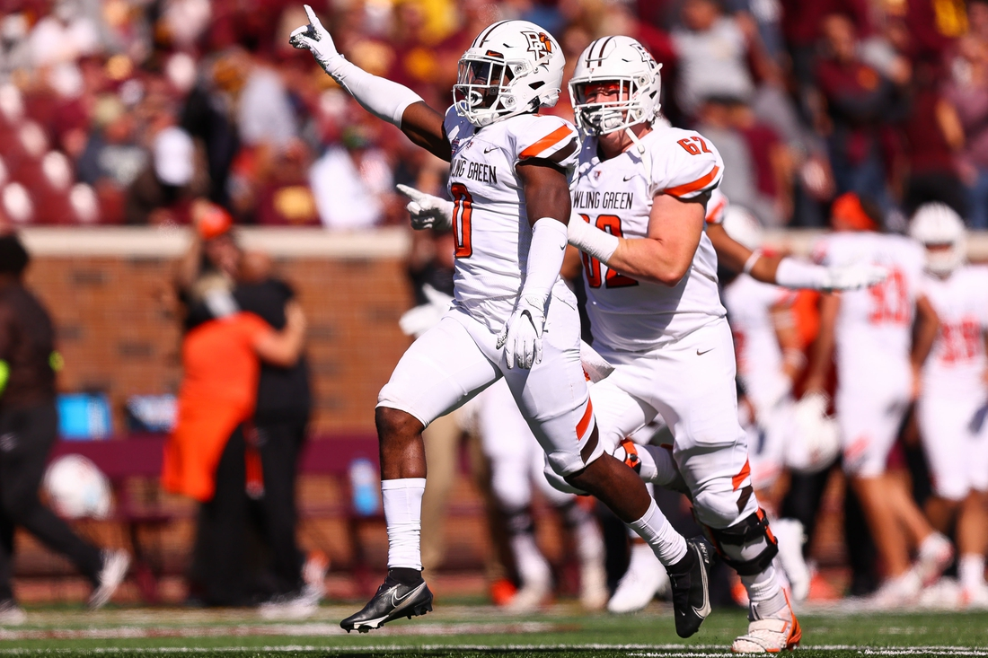 Sep 25, 2021; Minneapolis, Minnesota, USA; Bowling Green Falcons safety Jordan Anderson (0) celebrates after making a game ending interception during the fourth quarter against the Minnesota Gophers at Huntington Bank Stadium. Mandatory Credit: Harrison Barden-USA TODAY Sports