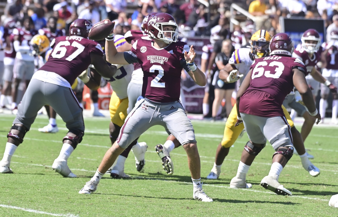Sep 25, 2021; Starkville, Mississippi, USA; Mississippi State Bulldogs quarterback Will Rogers (2) makes a pass against the LSU Tigers during the fourth quarter at Davis Wade Stadium at Scott Field. Mandatory Credit: Matt Bush-USA TODAY Sports