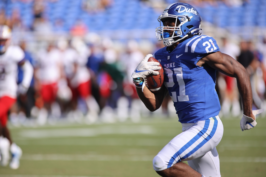 Sep 25, 2021; Durham, North Carolina, USA;  Duke Blue Devils running back Mataeo Durant (21) run with the football to make a touchdown during the 1st half of the game against the Kansas Jayhawks at Wallace Wade Stadium. Mandatory Credit: Jaylynn Nash-USA TODAY Sports