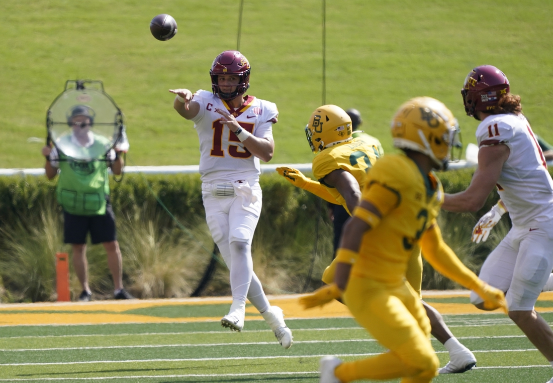 Sep 25, 2021; Waco, Texas, USA; Iowa State Cyclones quarterback Brock Purdy (15) throws a pass in the first half against the Baylor Bears at McLane Stadium. Mandatory Credit: Scott Wachter-USA TODAY Sports