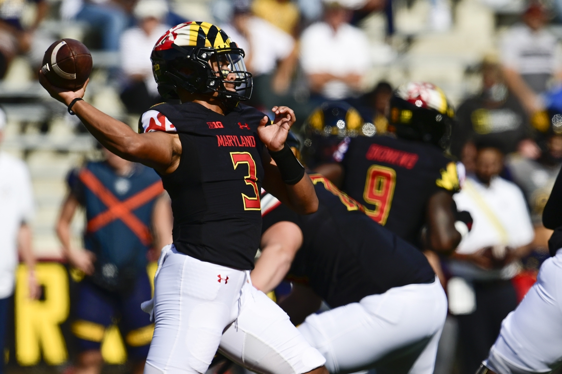 Sep 25, 2021; College Park, Maryland, USA;  Maryland Terrapins quarterback Taulia Tagovailoa (3) throws from the pocket during the first half against the Kent State Golden Flashes at Capital One Field at Maryland Stadium. Mandatory Credit: Tommy Gilligan-USA TODAY Sports