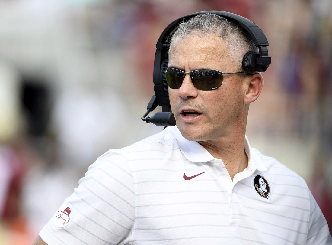 Sep 25, 2021; Tallahassee, Florida, USA; Florida State Seminoles head coach Mike Norvell during the game against the Louisville Cardinals at Doak S. Campbell Stadium. Mandatory Credit: Melina Myers-USA TODAY Sports