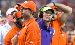 Clemson head coach Dabo Swinney and defensive coordinator Brent Venables react during the fourth quarter at Carter-Finley Stadium in Raleigh, N.C., September 25, 2021.  Ncaa Football Clemson At Nc State