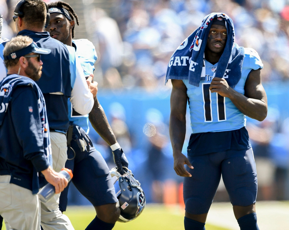Tennessee Titans wide receiver A.J. Brown (11) on the sidelines during their game against the Colts  at Nissan Stadium Sunday, Sept. 26, 2021 in Nashville, Tenn.  Titans Colts 153