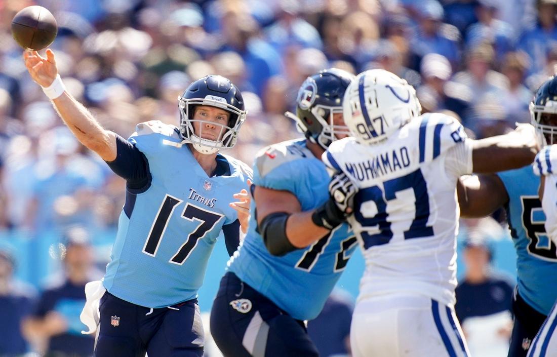 Tennessee Titans quarterback Ryan Tannehill (17) throws the ball during the third quarter at Nissan Stadium Sunday, Sept. 26, 2021 in Nashville, Tenn.  Titans Colts 188