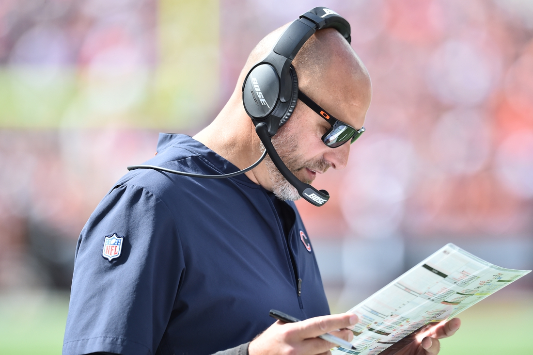 Sep 26, 2021; Cleveland, Ohio, USA; Chicago Bears head coach Matt Nagy during the first half against the Cleveland Browns at FirstEnergy Stadium. Mandatory Credit: Ken Blaze-USA TODAY Sports