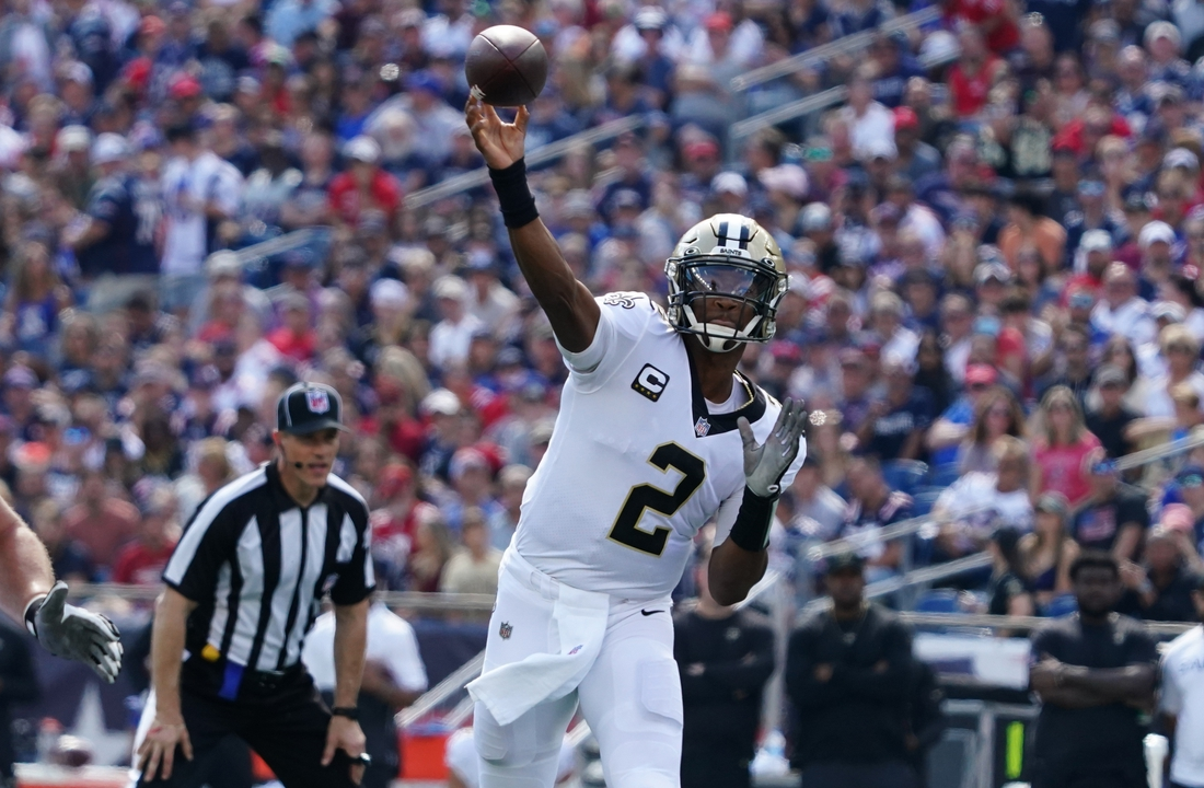 Sep 26, 2021; Foxborough, Massachusetts, USA; New Orleans Saints quarterback Jameis Winston (2) throws a pass against the New England Patriots during the first quarter at Gillette Stadium. Mandatory Credit: David Butler II-USA TODAY Sports