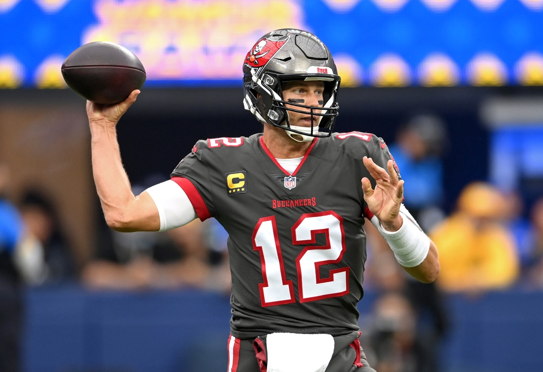 Sep 26, 2021; Inglewood, California, USA;   Tampa Bay Buccaneers quarterback Tom Brady (12) throws a pass in the first half of the game against the Los Angeles Rams at SoFi Stadium. Mandatory Credit: Jayne Kamin-Oncea-USA TODAY Sports