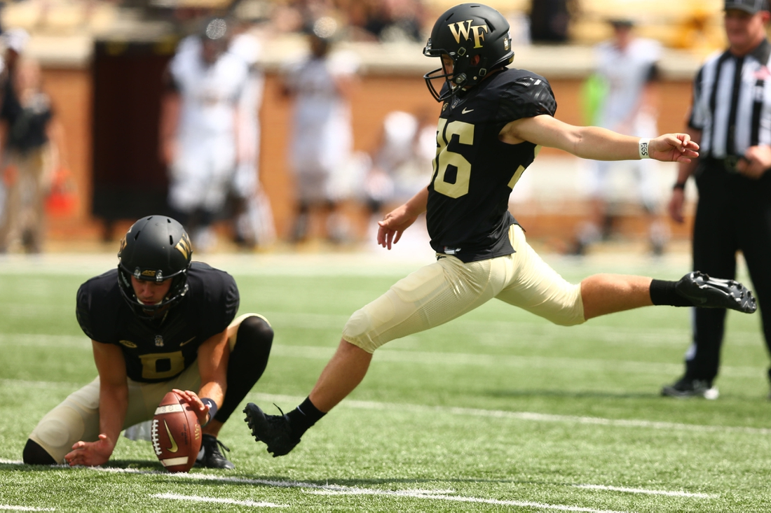 Sep 8, 2018; Winston-Salem, NC, USA; Wake Forest Demon Deacons place kicker Nick Sciba (96) attempts a field goal in the second quarter against the Towson Tigers at BB&T Field. Mandatory Credit: Jeremy Brevard-USA TODAY Sports