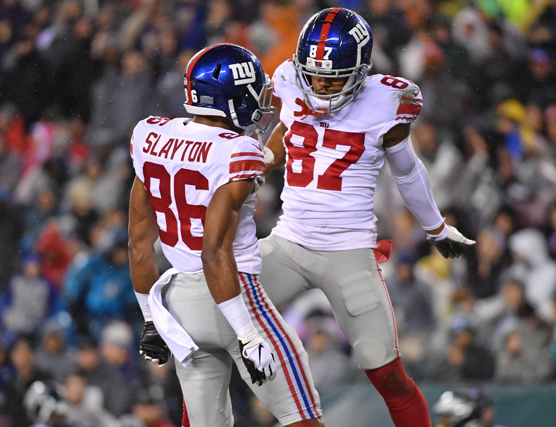 Dec 9, 2019; Philadelphia, PA, USA; New York Giants wide receiver Darius Slayton (86) celebrates his touchdown  catch with wide receiver Sterling Shepard (87) during the second quarter against the Philadelphia Eagles at Lincoln Financial Field. Mandatory Credit: Eric Hartline-USA TODAY Sports