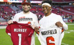 Cleveland Browns quarterback Baker Mayfield (left) and Arizona Cardinals quarterback Kyler Murray exchange jerseys after Arizona Cardinals won 38-24 at State Farm Stadium December 15, 2019.Browns Vs Cardinals