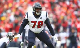 Jan 12, 2020; Kansas City, MO, USA; Houston Texans offensive tackle Laremy Tunsil (78) against the Kansas City Chiefs in a AFC Divisional Round playoff football game at Arrowhead Stadium.  Mandatory Credit: Mark J. Rebilas-USA TODAY Sports