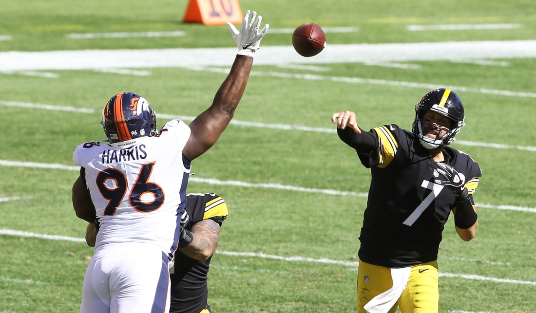 Sep 20, 2020; Pittsburgh, Pennsylvania, USA;  Denver Broncos defensive end Shelby Harris (96) defend a pass by Pittsburgh Steelers quarterback Ben Roethlisberger (7) during the third quarter at Heinz Field. The Steelers won 26-21. Mandatory Credit: Charles LeClaire-USA TODAY Sports