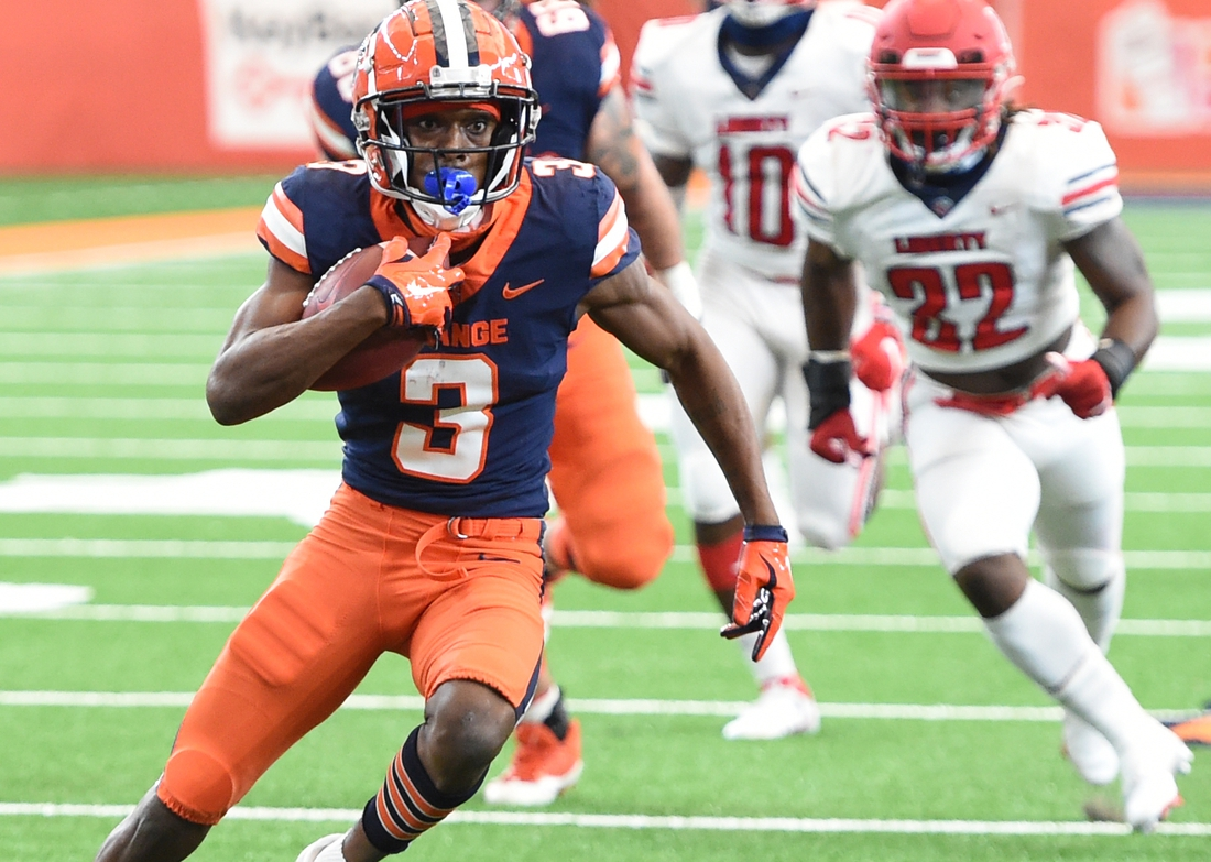 Oct 17, 2020; Syracuse, NY, USA;  Syracuse Orange wide receiver Taj Harris (3) after a reception in the first half during a game against Liberty on Saturday, Oct. 17, 2020, at the Carrier Dome in Syracuse, N.Y. Mandatory Credit: Dennis Nett/Pool Photo-USA TODAY Sports