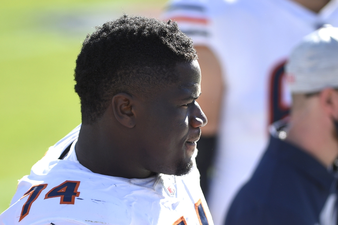 Oct 18, 2020; Charlotte, North Carolina, USA; Chicago Bears offensive guard Germain Ifedi (74) on the sidelines in the third quarter at Bank of America Stadium. Mandatory Credit: Bob Donnan-USA TODAY Sports