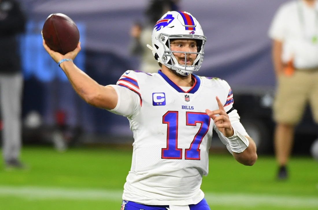 Oct 13, 2020; Nashville, Tennessee, USA; Buffalo Bills quarterback Josh Allen (17) attempts a pass during the second half against the Tennessee Titans at Nissan Stadium. Mandatory Credit: Christopher Hanewinckel-USA TODAY Sports
