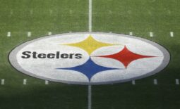 Dec 2, 2020; Pittsburgh, Pennsylvania, USA;  General view of the team logo at mid-field before the Pittsburgh Steelers host the Baltimore Ravens at Heinz Field. Mandatory Credit: Charles LeClaire-USA TODAY Sports