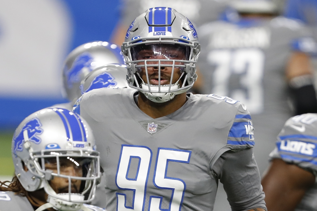 Dec 26, 2020; Detroit, Michigan, USA; Detroit Lions OLB Romeo Okwara (95) warms up before a game against the Tampa Bay Buccaneers at Ford Field. Mandatory Credit: Raj Mehta-USA TODAY Sports